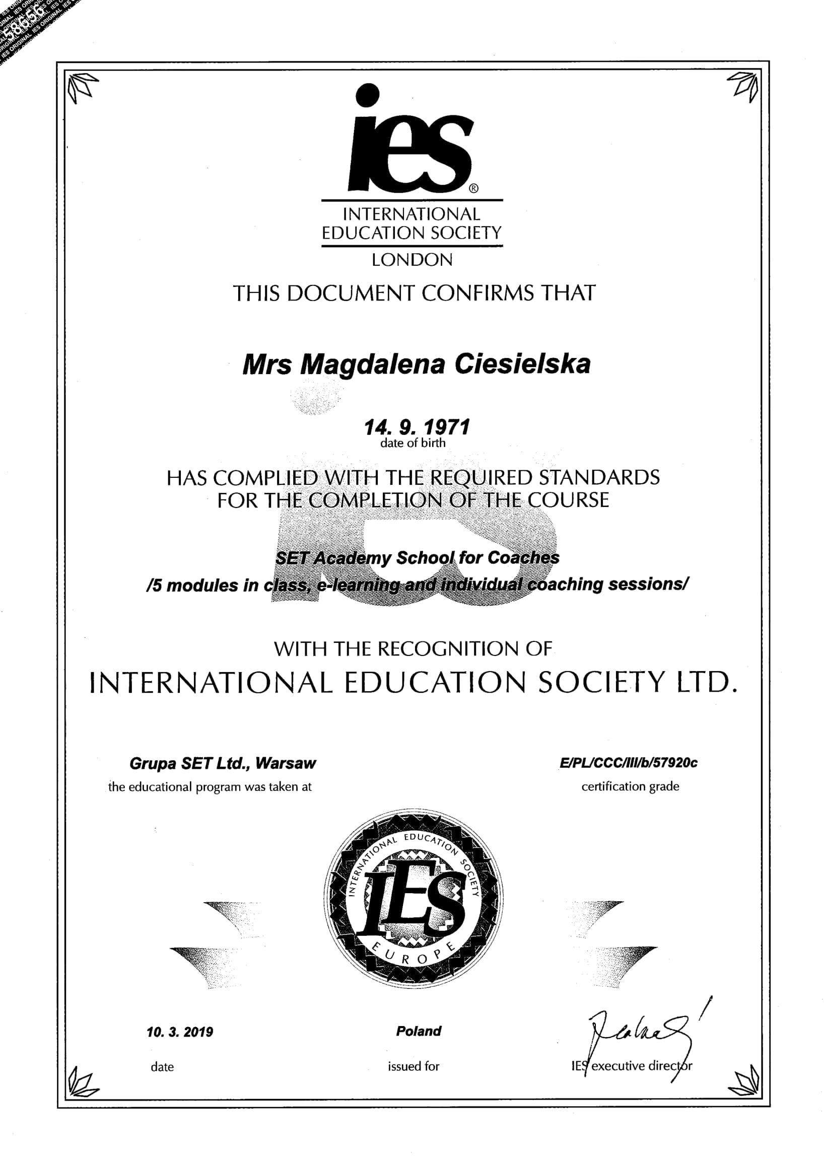Coaching certyfikat ICF